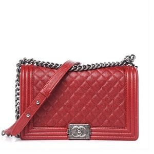 CHANEL Quilted Medium Boy Flap - Dark Red